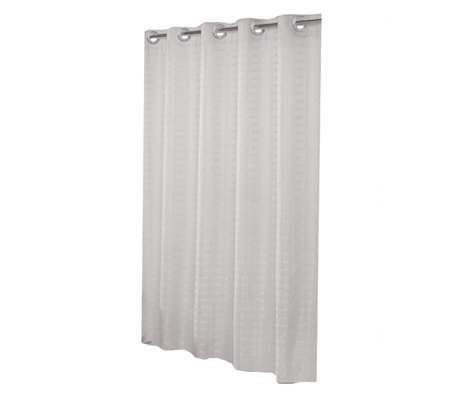 Hookless Litchfield White Shower Curtain w Snap Liner