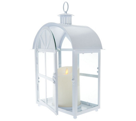 Luminara Crescent Lantern with Flameless Candle w/ Timer