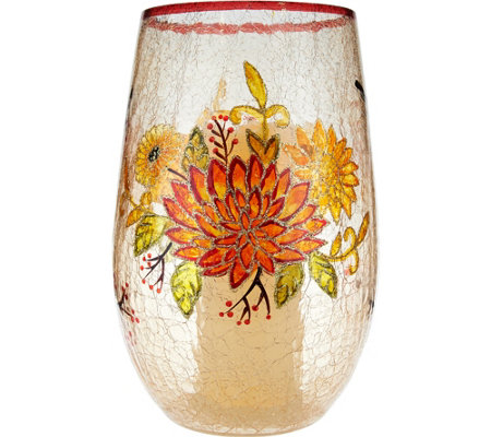 "Plow and Hearth 11"" Crackle Glass Hurricane with Flameless Candle & Timer"