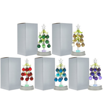 """As Is"" Kringle Express Set of 5 Glass Trees w/ Ornaments - H210252"