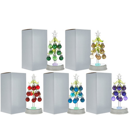 """As Is"" Kringle Express Set of 5 Glass Trees w/ Ornaments"