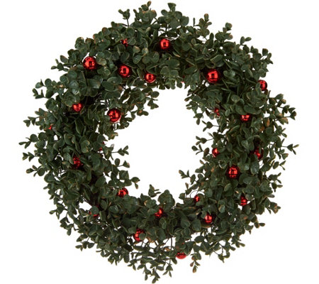 "19"" Boxwood Wreath with Ornament Accents by Valerie"