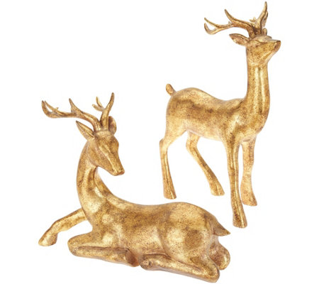 """As Is"" Set of 2 Sitting and Standing Antiqued Deer by Valerie"