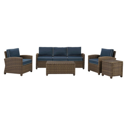 Crosley Bradenton 5-Piece Outdoor Wicker Sofa Conversation Set