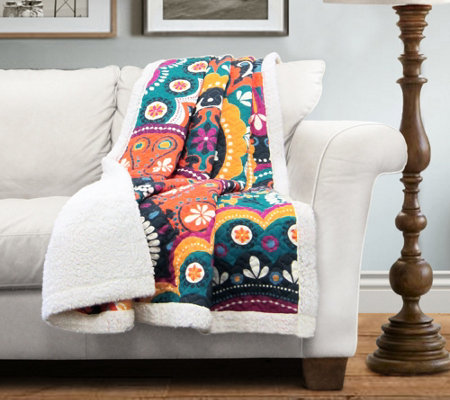 Maya Sherpa Throw by Lush Decor