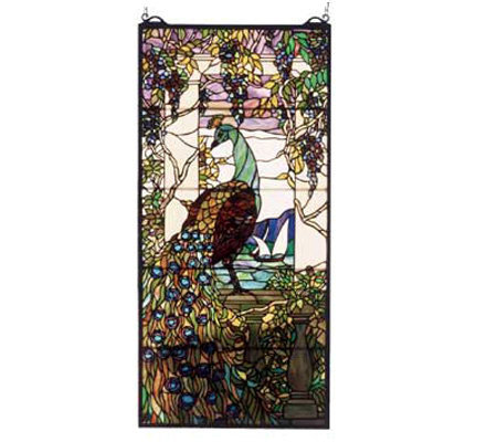 Meyda Tiffany Style Peacock and Wisteria WindowPanel