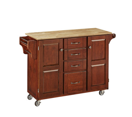 Home Styles Create-A-Cart Cherry Base with Natual Wood Top Lg