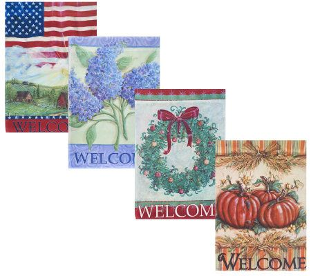Set of 4 Seasonal Garden Banners with Stake by Valerie Page 1