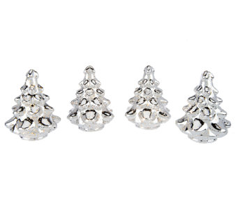 Set of 4 Illuminated Mercury Glass Trees by Valerie - H203553