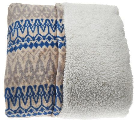 Berkshire Oversized Twin Tribal Print Faux Mink & Sherpa Blanket ...
