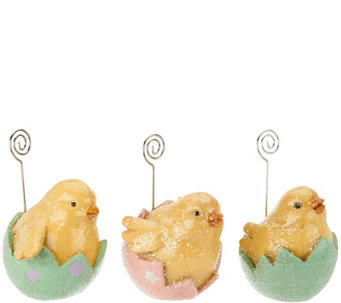 Set of 3 Bunny or Chick Placecard Holders by Valerie - H207653