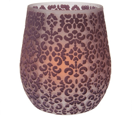 "Candle Impressions 8"" Brocade Vase with Flameless Candle"