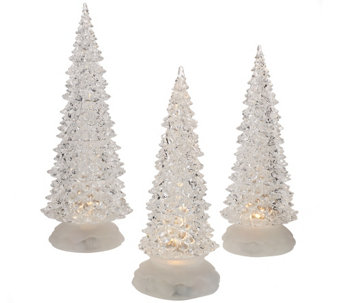 """As Is"" Set of 3 Illuminated Sparkling Trees by Valerie - H208153"
