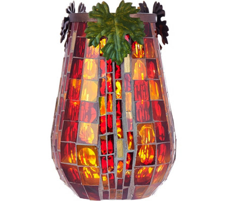 "Plow and Hearth 8"" Mosaic Tiled Hurricane with Leaf Accents & LED Microlights"
