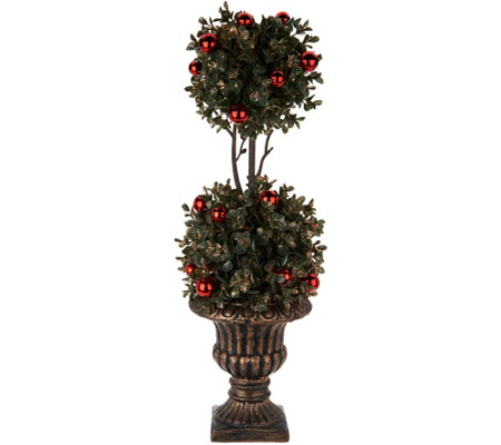 "22"" Boxwood Topiary in Urn with Ornament Accents by Valerie"
