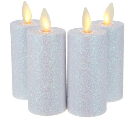 Luminara Set of 4 Glitter Votive Candles with Timer & Remote