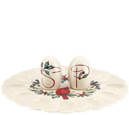 Lenox Winter Greetings Egg Platter with Salt and Pepper Shaker