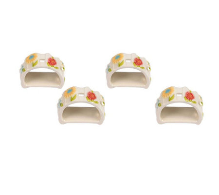 Temp-tations Gingham Garden Set of 4 Napkin Rings