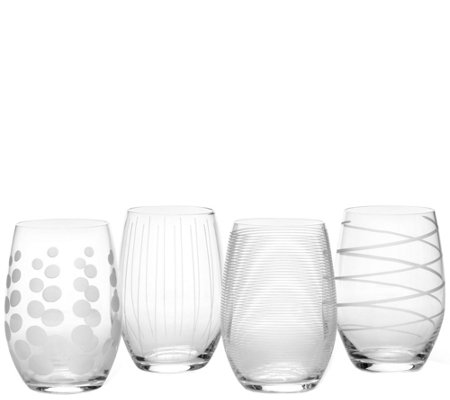 Mikasa Cheers Set of 4 Stemless Wine Glasses