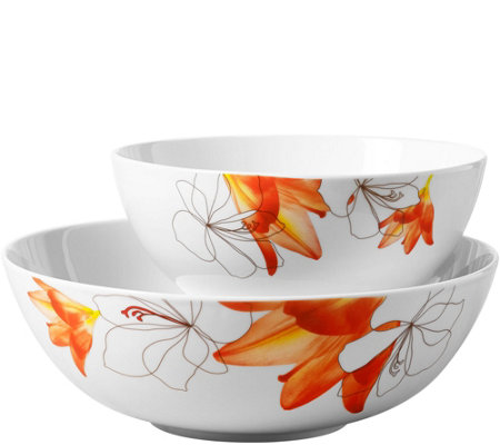 Tabletops Gallery 2-Piece Round Serving Bowl Set - Lily