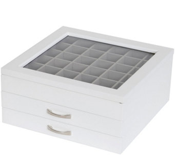 "Mele & Co. ""Liza"" Glass Top Jewelry Box in White - H349653"