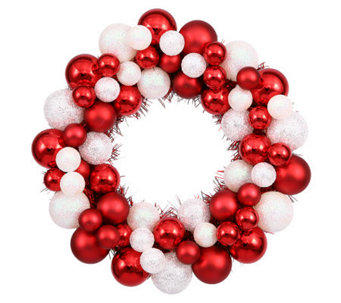 "12"" Candy Cane Ball Wreath by Vickerman - H354453"