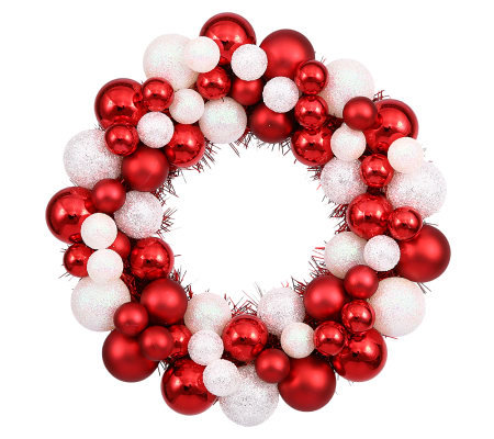 "12"" Candy Cane Ball Wreath by Vickerman"