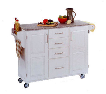 home styles large create a cart white wgranitop h129054