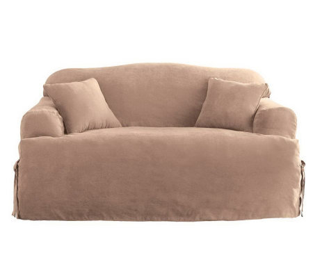 Sure Fit Soft Suede T-Cushion Love Seat Slipcover