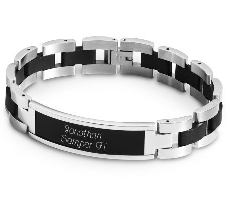 Things Remembered Black and Silver ID Bracelet