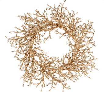 "19"" Glittered Iced Crystal Twig Wreath - H209554"