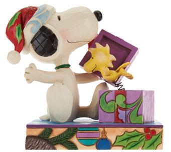 "Jim Shore Snoopy & Woodstock ""A Christmas Surprise"" - H209654"