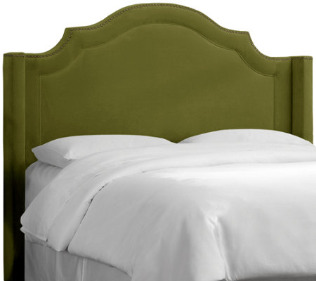 Nail Button Arched Wingback Velvet Headboard by Valerie - King