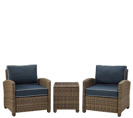 Crosley Bradenton 3-Piece Outdoor Wicker Conversation Set