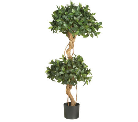 4' Sweet Bay Double Ball Topiary Tree by NearlyNatural
