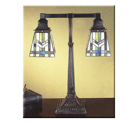 meyda tiffany inspired mission style table lamp 2 shades 20. Black Bedroom Furniture Sets. Home Design Ideas
