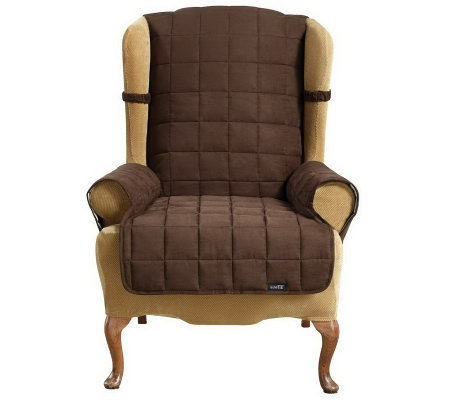 Sure Fit Suede Quilted Waterproof Wing/Recliner Furniture Cover