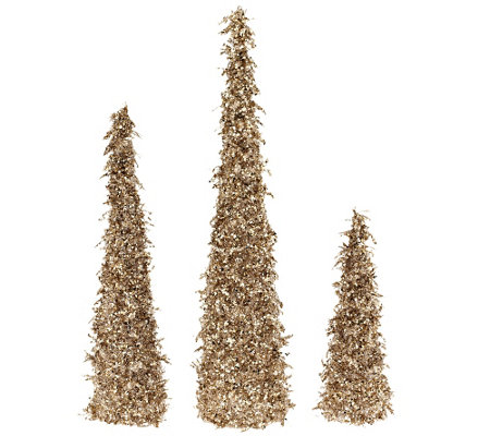 """As Is"" Set of 3 Sequined and Glittered Icicle Trees"