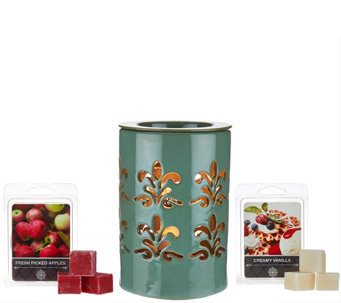 Illuminated Candle Warmer and (2) Fragrance Packs by Valerie - H204955