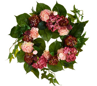 "16"" Ranunculus and Hydrangea Wreath by Valerie - H207655"