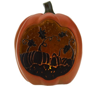 Plow and Hearth Illuminated Resin Pumpkin with Pumpkin Patch Scene - H208955