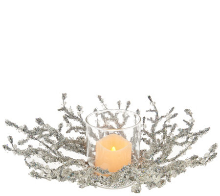 Glittered Iced Crystal Twig Centerpiece with Flameless Candle