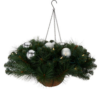 Bethlehem Lights Mixed Greenery With Ornaments Hanging Basket - H209755