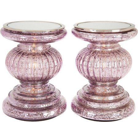 """As Is"" S/2 Lit Candle Holder Pedestals with Mirror Inserts by Valerie"