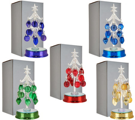 Kringle Express Set of 5 Lit Glass Trees w/ Ornaments & Gift Boxes