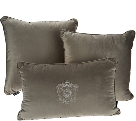 Dennis Basso Lush Velvet Set of 3 Decorative Pillows