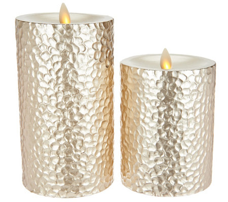 Inspire Me! Home Decor S/2 Metallic Flameless Candles w/Timer