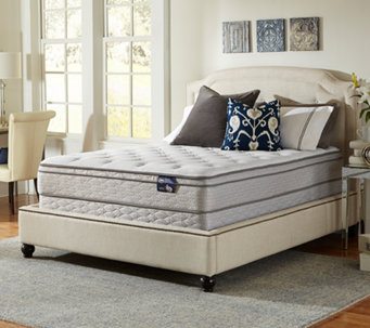 Serta Glisten Euro Top Queen Mattress Set w/ Sp lit Foundation - H286555