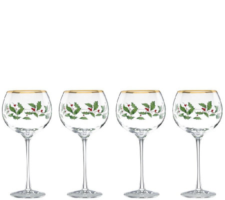 Lenox Holiday Set of 4 Balloon Glasses