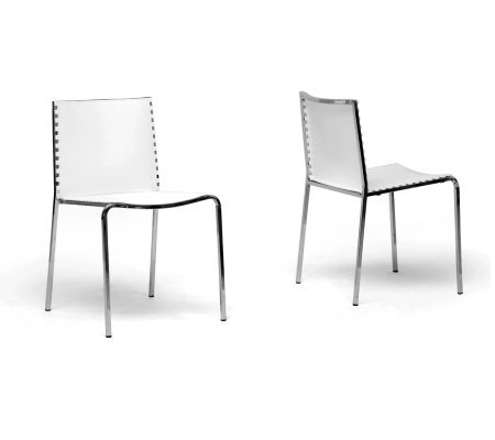 Set of 2 Gridley White Modern Dining Chairs